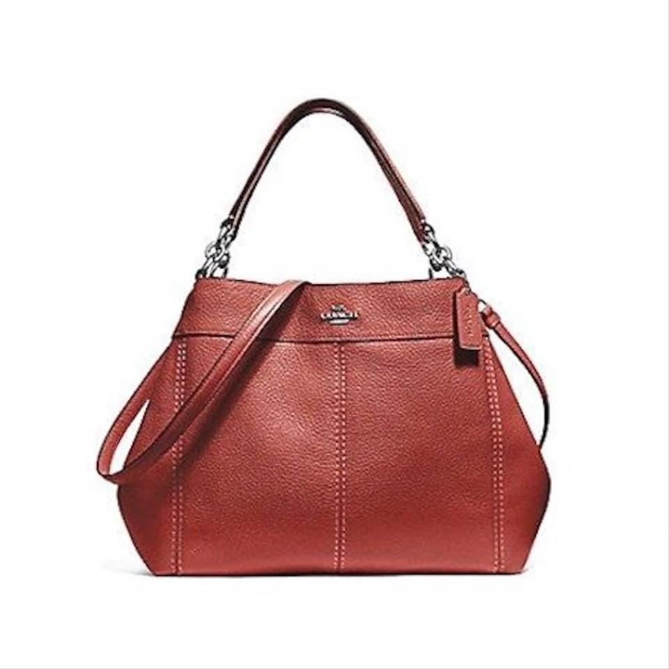 d9780ec00a5 Coach Lexy Small Washed Red Leather Shoulder Bag - Tradesy