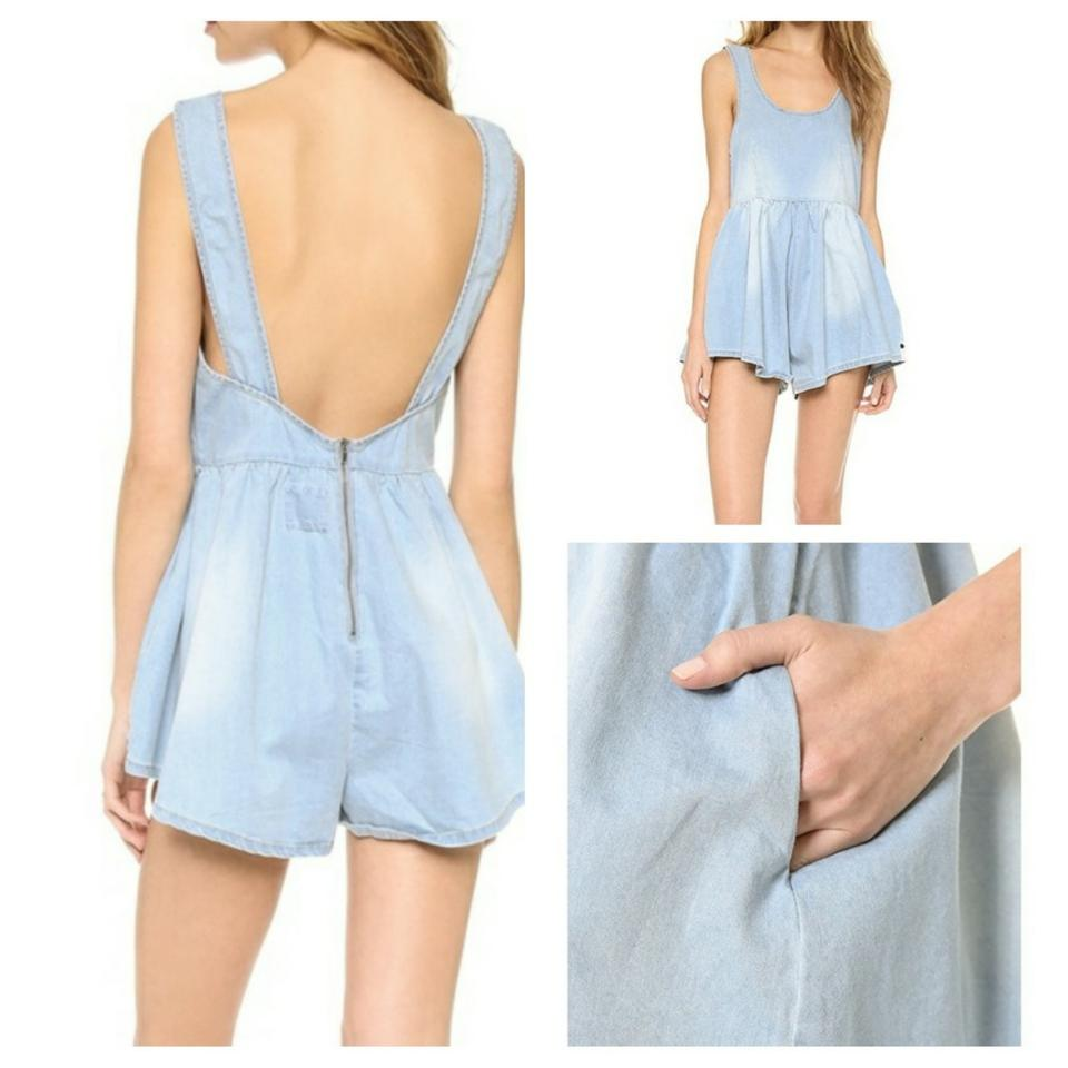 e43346508b60 One Teaspoon Blue Cali Romper Faded Chambray Short Casual Maxi Dress ...
