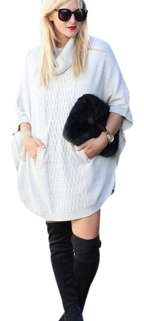 Item - Gray Cocoon Woven Knit Pullover Sweater Poncho/Cape Size 12 (L)