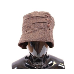 Dolce&Gabbana D10203-2 Women's Brown Wool Leather Bucket Cap Hat Cappelo (57 cm / S)