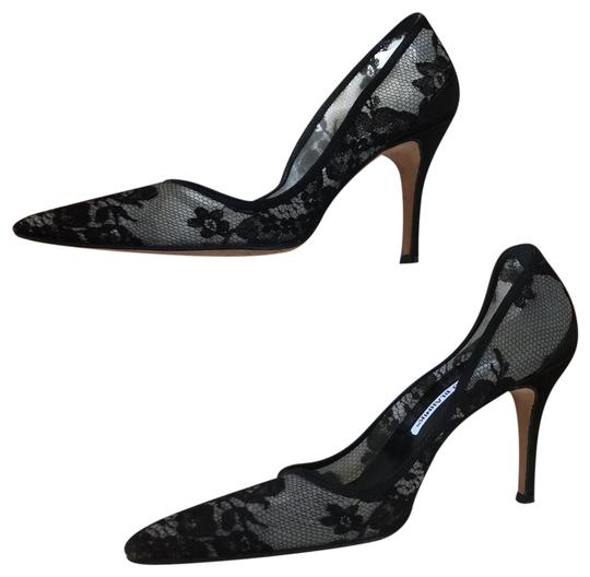 Preload https://img-static.tradesy.com/item/24589374/manolo-blahnik-black-lace-pointed-pumps-size-eu-38-approx-us-8-regular-m-b-0-4-540-540.jpg
