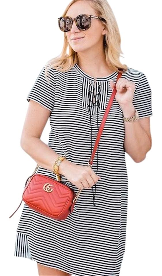 d8320bcd85f7 CAbi Blue White Captain Striped Laceup Mini A-line Sailor Nautical  Crisscross Casual Dress