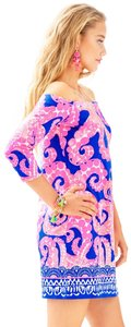 Lilly Pulitzer short dress Ikat Blue Mocean Catch And Release Neon Print Hi Low Hem Assymetrical Sloane on Tradesy