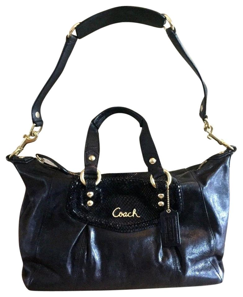 ee8c77e8289a Coach Ashley Leather Sequin Convertible Satchel F19247 Black Leather ...
