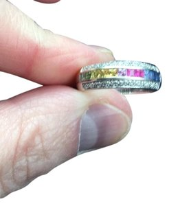 Rogers & Hollands 14kt White Gold Rainbow Sapphire & Diamond Ring