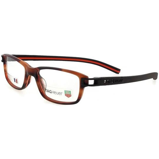 TAG Heuer TH7602-002-52 Rectangle Unisex Brown Frame Clear Lens Eyeglasses NWT Image 1