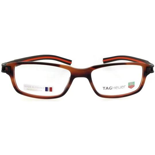 TAG Heuer TH7602-002-52 Rectangle Unisex Brown Frame Clear Lens Eyeglasses NWT Image 2