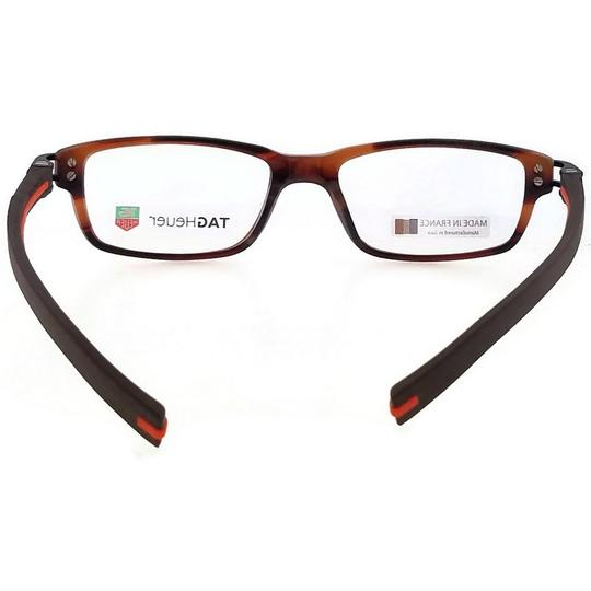 TAG Heuer TH7602-002-52 Rectangle Unisex Brown Frame Clear Lens Eyeglasses NWT Image 4