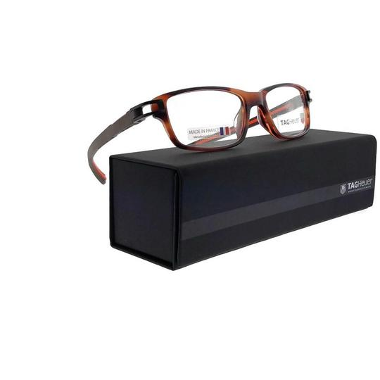 TAG Heuer TH7602-002-52 Rectangle Unisex Brown Frame Clear Lens Eyeglasses NWT Image 5