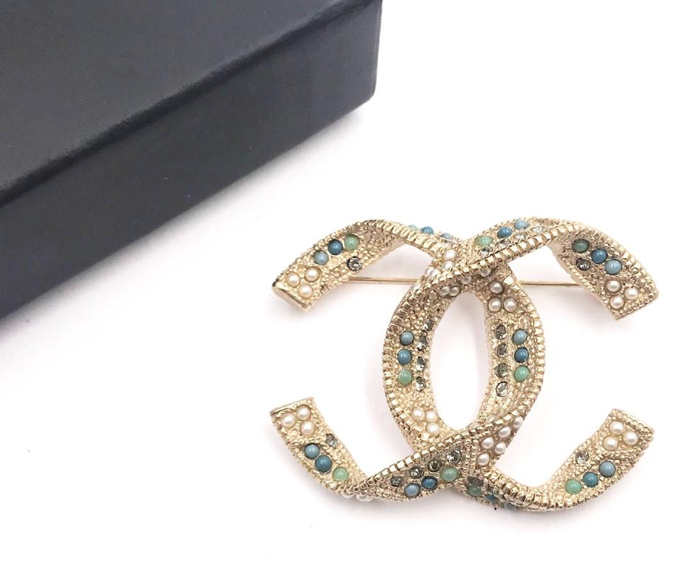 fb6c79a07decc6 Chanel Gold White Turquoise Silver Cc Crystal Clover Leaf Brooch ...