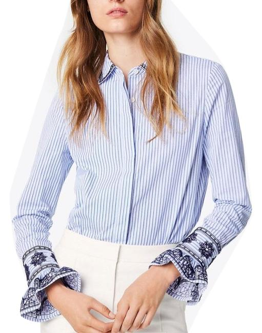 Item - Blue Embroidered Ombre Paige Ombre-striped Button-front Shirt Button-down Top Size 4 (S)