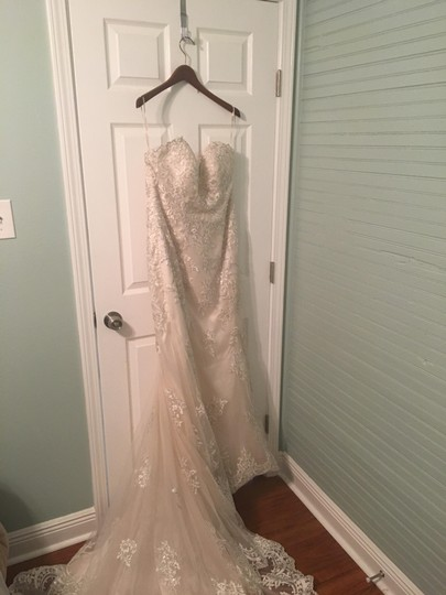 Maggie Sottero Champagne/Pewter Accent Lace Reynold Feminine Wedding Dress Size 14 (L) Image 1