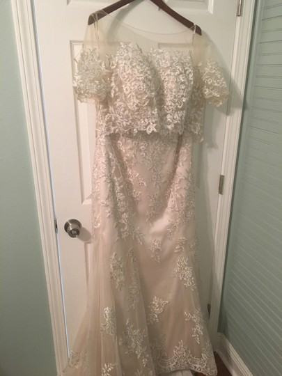 Maggie Sottero Champagne/Pewter Accent Lace Reynold Feminine Wedding Dress Size 14 (L) Image 2