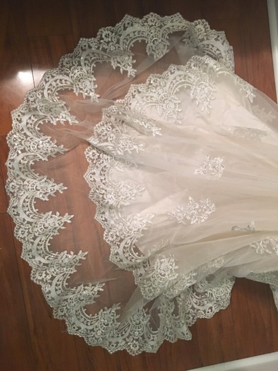 Maggie Sottero Champagne/Pewter Accent Lace Reynold Feminine Wedding Dress Size 14 (L) Image 3