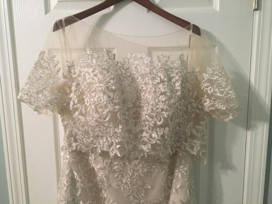 Maggie Sottero Champagne/Pewter Accent Lace Reynold Feminine Wedding Dress Size 14 (L) Image 4
