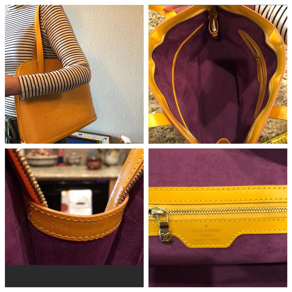 50f987974bc3 Louis Vuitton Lussac Yellow and Purple Epi Leather Suede Brass Hobo ...