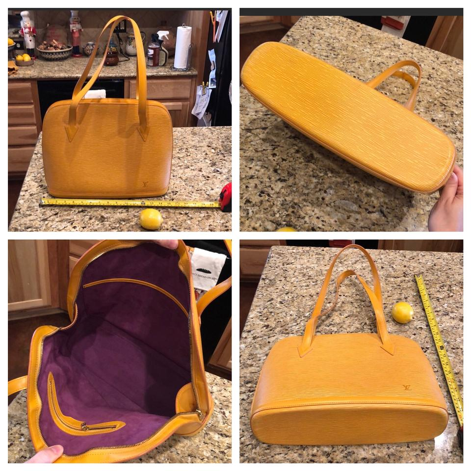 081b4d87e281 Louis Vuitton Lussac Yellow and Purple Epi Leather Suede Brass Hobo Bag -  Tradesy