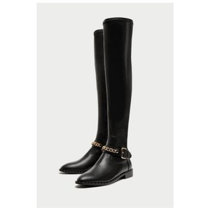 ed6290bebb2 Zara Black Over The Knee with Chain Detailing Boots/Booties Size US 6.5  Regular (M, B)