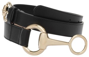 Gucci Women's Black Belt w/Round Buckle Horsebit Detail 95/38 295338 1000