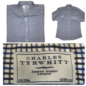 Charles Tyrwhitt Blue Men's Button Down Dress Plaid Check Shirt