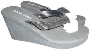 Colin Stuart New Black and White Wedge Flip Flops Wedges