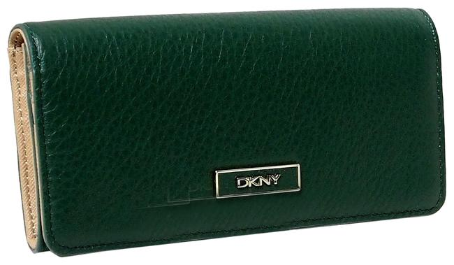 DKNY Green Clutch Pebbled Leather Flap Checkbook Wallet DKNY Green Clutch Pebbled Leather Flap Checkbook Wallet Image 1