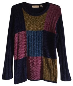 Carolyn Taylor Chenille Chunky Color-blocking Plush Checkered Sweater
