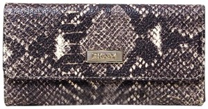 DKNY DKNY PYTHON LEATHER NATURAL BROWN MULTI FLAP CLUTCH WALLET