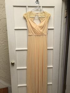 David's Bridal Canary Polyester W L Long M Cap Slv O Style 31111776 Traditional Bridesmaid/Mob Dress Size 0 (XS)