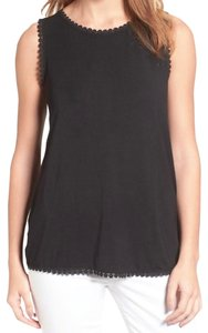 Halogen Stretch Knit Fabric Crew Neck Sleeveless Dress Up Or Down High Quality Viscose Top Black