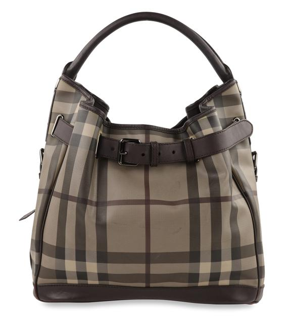 Item - Smoke Check Medium Walden Belted Trench Brown Canvas Hobo Bag
