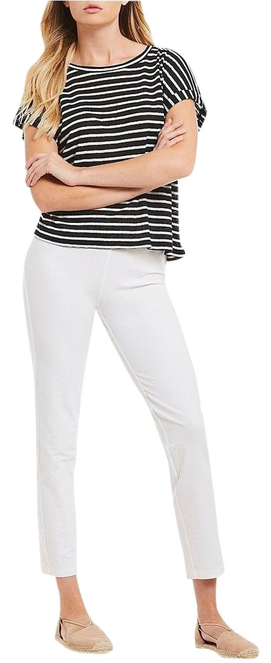 29f487f2432cf7 Eileen Fisher Black and White Jersey Organic Linen Blouse Size 0 (XS ...