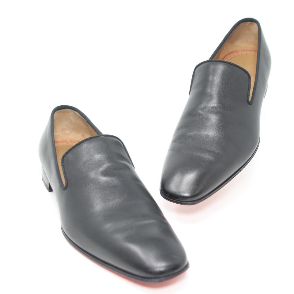 best service d2314 ed1b6 Christian Louboutin Black Venetian Cut Leather Dandelion Flat Men's Loafer  Size 41.5 Shoes 47% off retail