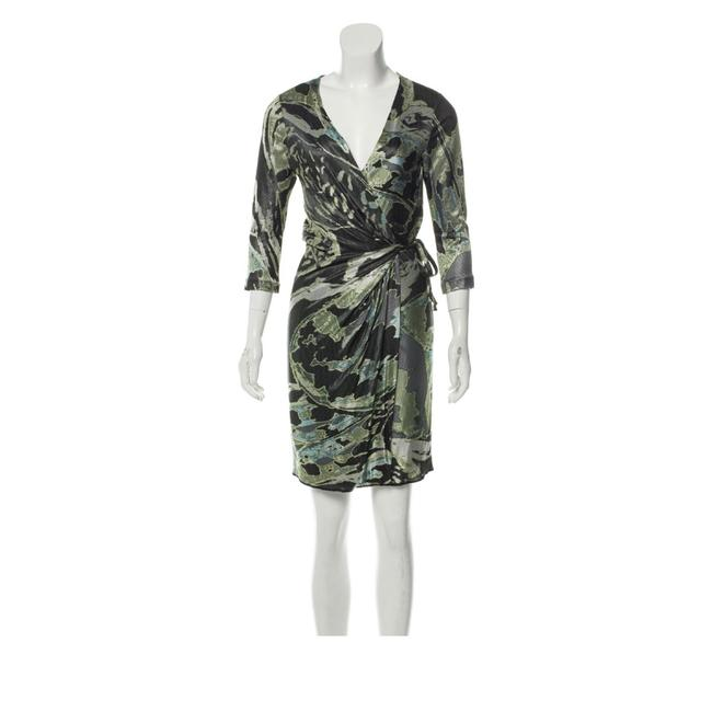 Item - Green Silver Grey Dvf Evrin Silk Mid-length Night Out Dress Size 8 (M)