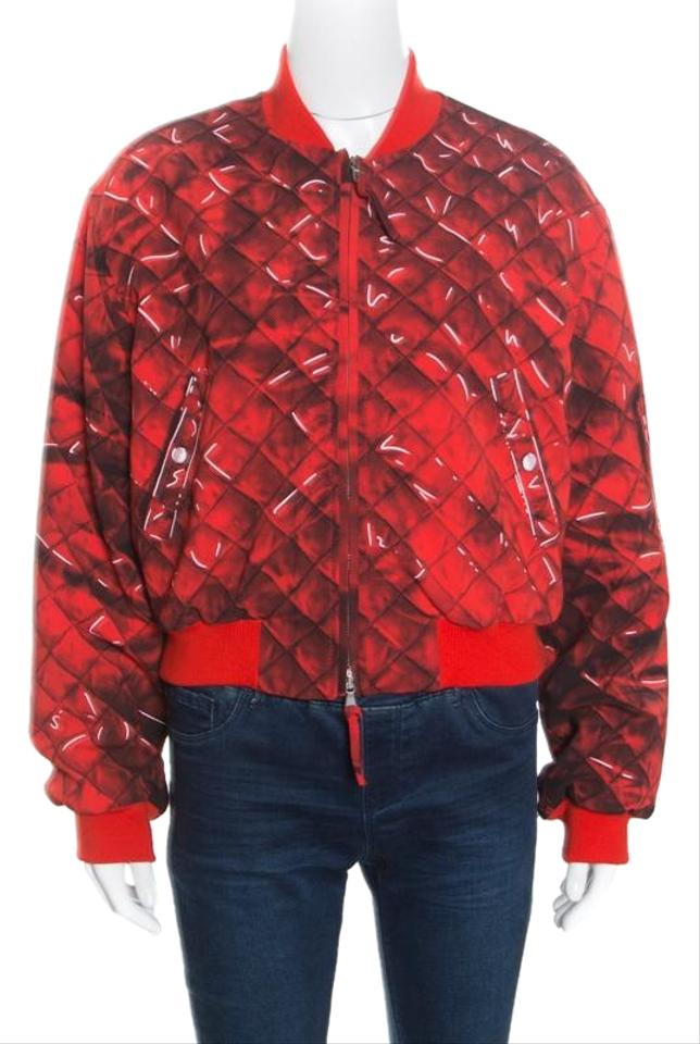 cad369b126 Moschino Red Couture Trompe-l'oeil Printed Bomber Jacket Size 10 (M ...
