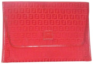 Fendi Rare Early Mint Condition Zucchino/Small Canvas/Leather Xl Envelope true red Zucchino or small F logo print canvas and red leather Clutch