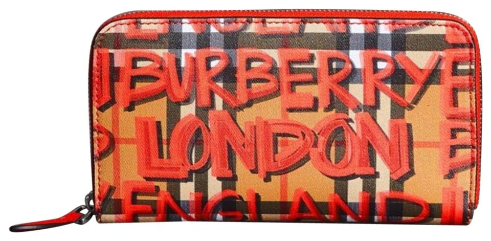 Burberry Red Brown Graffiti Print Vintage Check Leather Ziparound Wallet b64dcc51548c