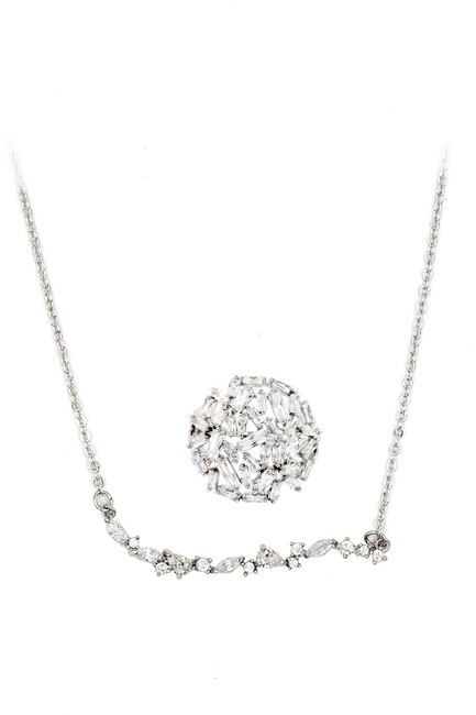 Ocean Fashion Silver Crystal Ring Set Necklace Ocean Fashion Silver Crystal Ring Set Necklace Image 1