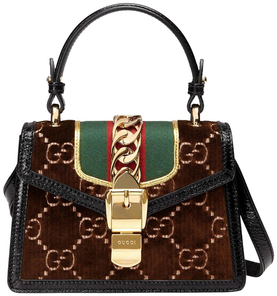 bfb6872e89e7b2 Gucci Sylvie New Mini Top Handle Brown Velvet Cross Body Bag - Tradesy