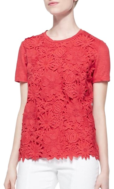 Preload https://img-static.tradesy.com/item/24591899/tory-burch-katama-guipure-lace-raised-3d-flowers-t-coral-red-floral-t-shirt-tee-shirt-size-16-xl-plu-0-3-650-650.jpg