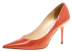 Jimmy Choo Patent Leather Pointed Toe Orange Pumps