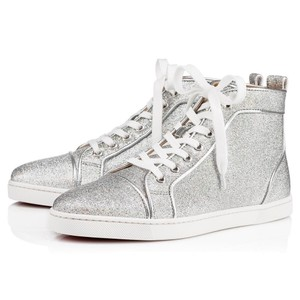 Christian Louboutin Hi Top Sneakers Trainers Lurex Silver Athletic