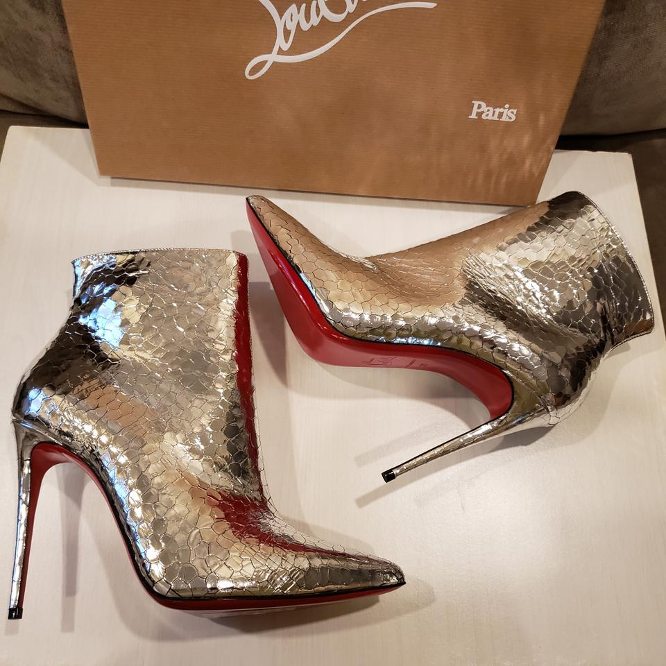 d7557a75568 Christian Louboutin Silver So Kate 100 Metallic Leather Heels Ankle  Boots Booties Size EU 35.5 (Approx. US 5.5) Regular (M