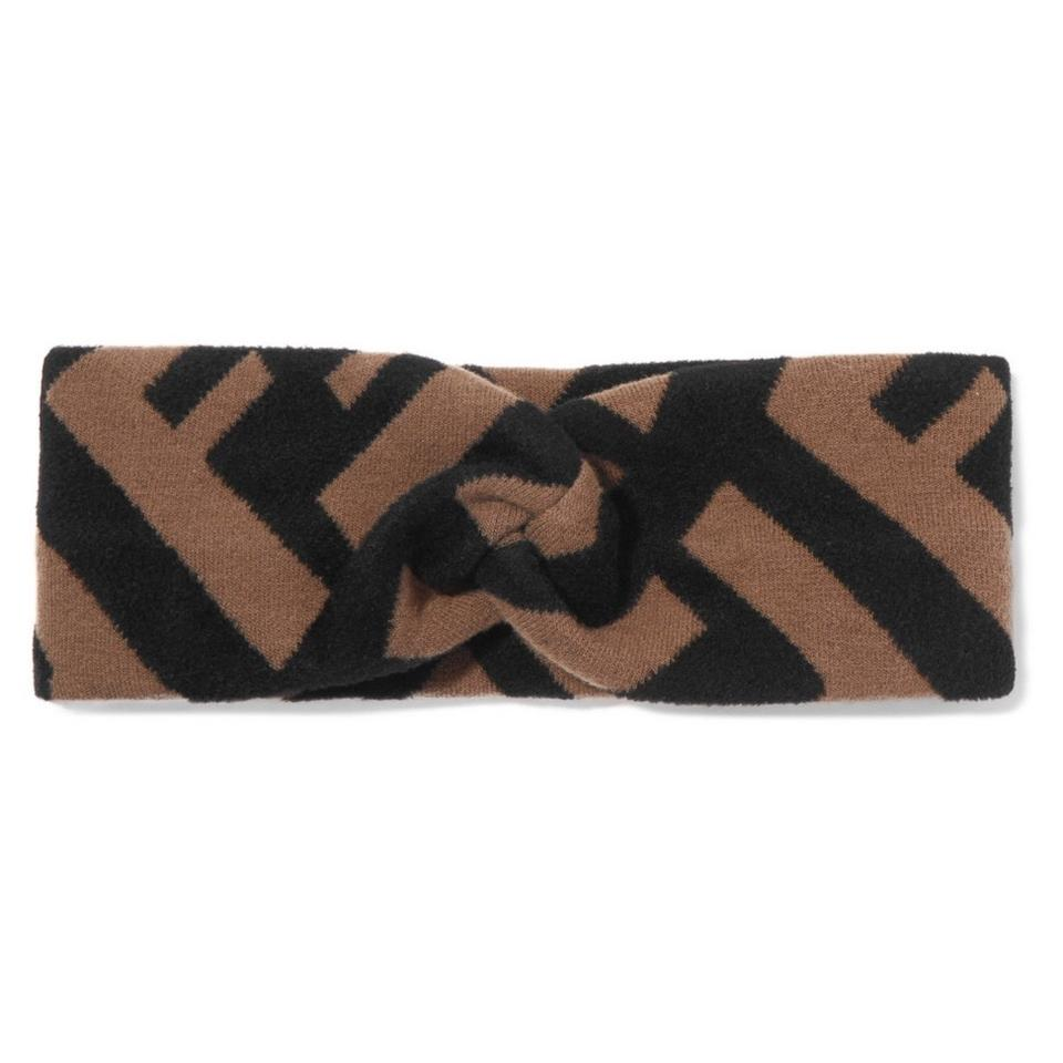 e198cec8c2cc Fendi Brown and Black Intarsia Wool F F Logo Headband Hair Accessory ...