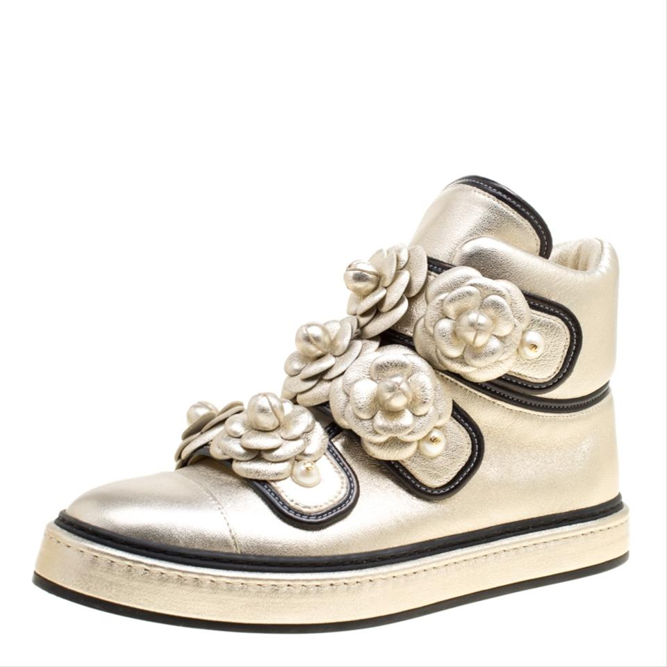 cc53aa43965a0 Metallic Gold Leather Cc Camellia Flowers Embellished High Top Sneaker  Sneakers