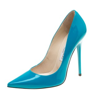 Jimmy Choo Patent Leather Leather Green Pumps