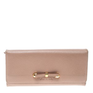 c1c0cc2b98ca ... good prada beige saffiano leather bow continental wallet 65f18 d6c77