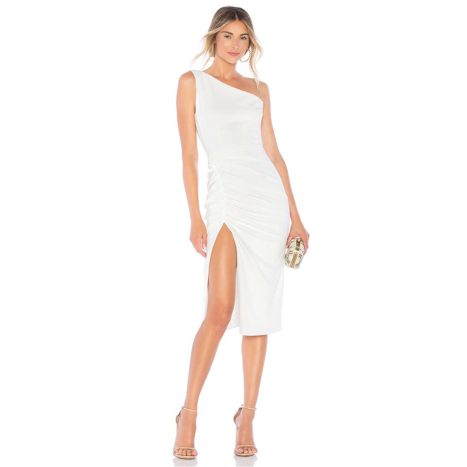 94e40e4f342 Katie May Ivory New Age Crepe One Shoulder Crepe Mid-length Cocktail ...