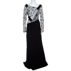 Tadashi Shoji Black Polyester Monochrome Embroidered Marissa Gown L Formal Wedding Dress Size 12 (L)