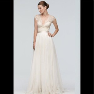 Watters Anais Cap Sleeve Lace V-neck Top Formal Wedding Dress Size 10 (M)